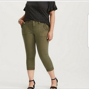 Torrid Army Green Cropped Military Pants